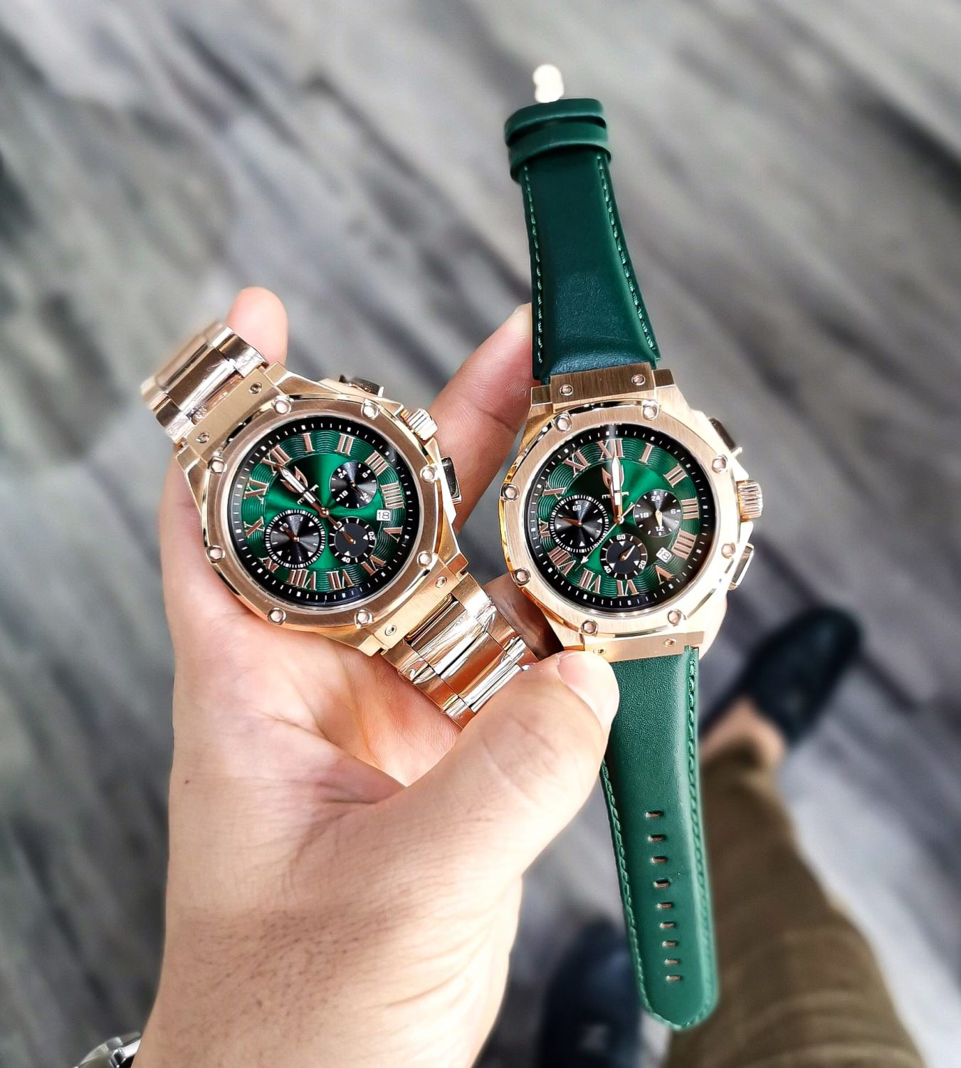 Rose Gold & Green – Leather