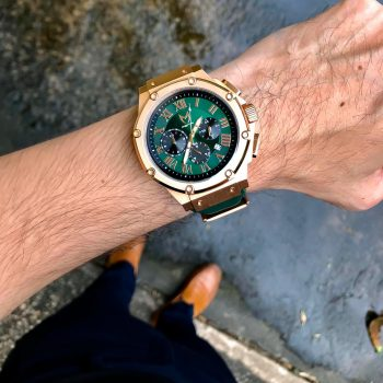Rose Gold & Green – Leather Band