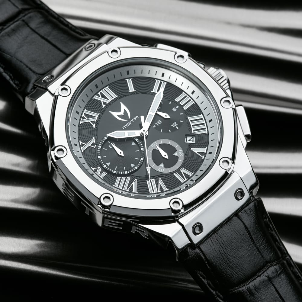 Polished Silver - Leather