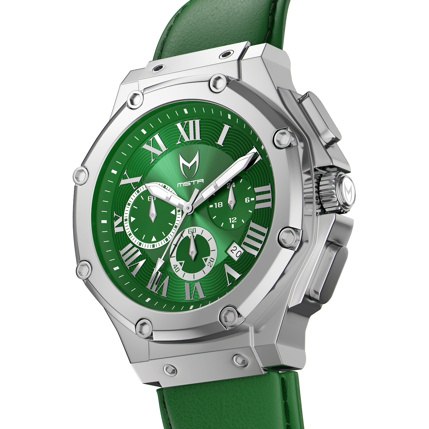 Silver & Green - Leather