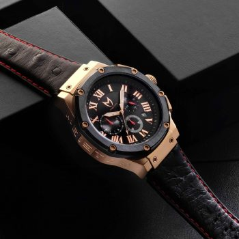 Rose Gold & Black - Ostrich Leather