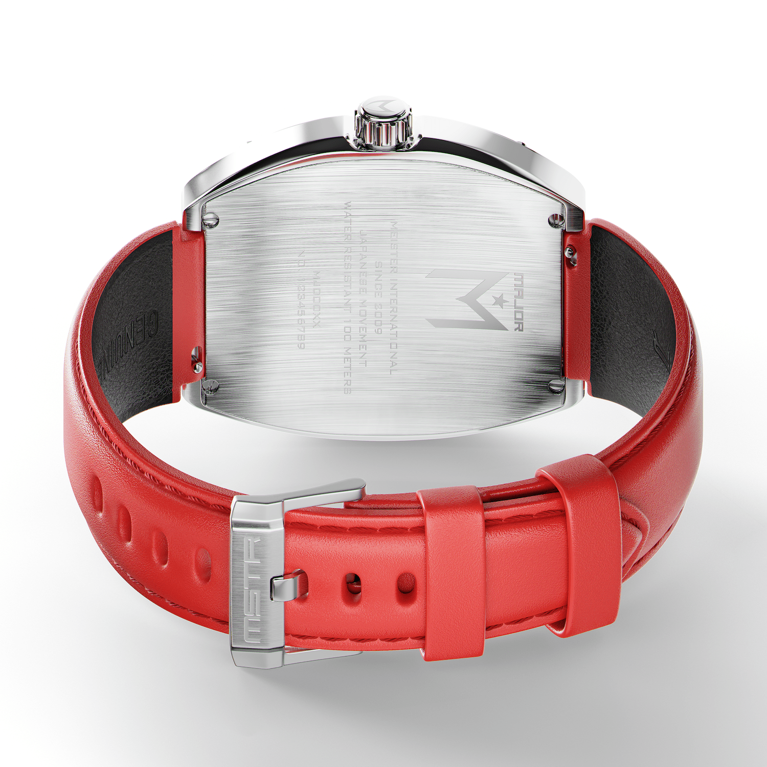 Silver & Red - Leather