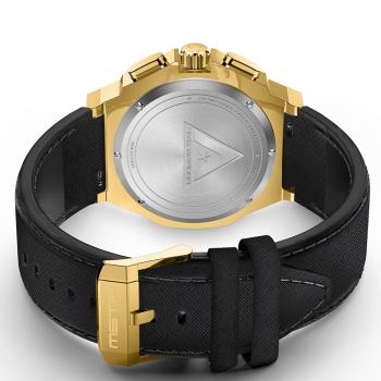 Polished Goud – Black Leather Band
