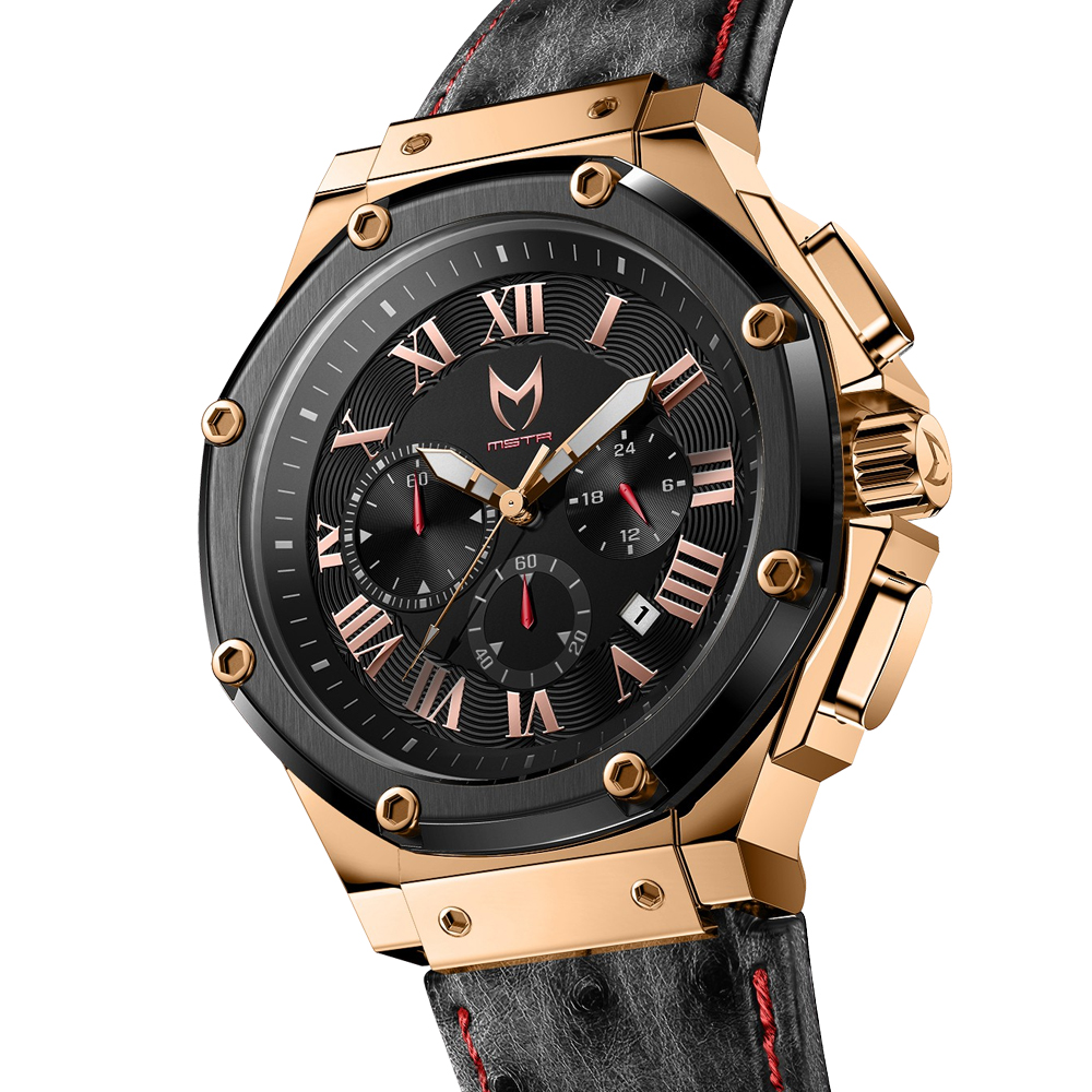 Rose Gold & Black – Ostrich Leather