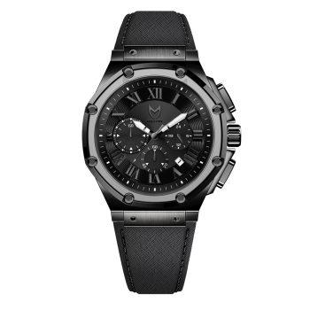 Polished Titanium – Black Leather Band