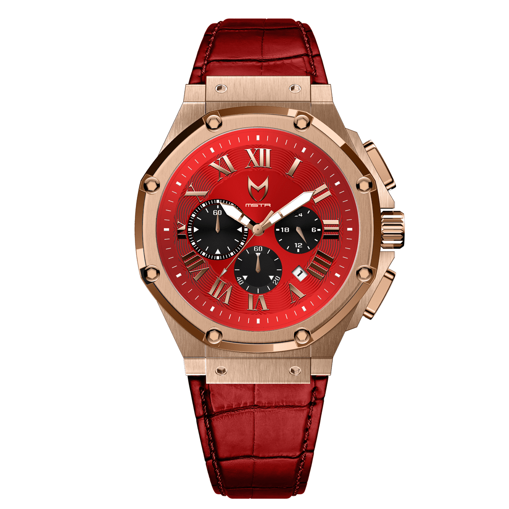 Rose Gold & Red - Leather