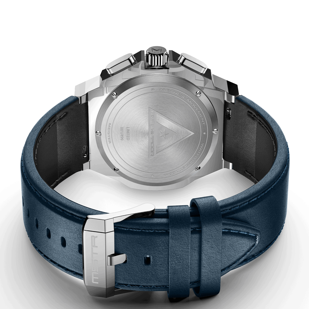 Silver & Blue - Leather