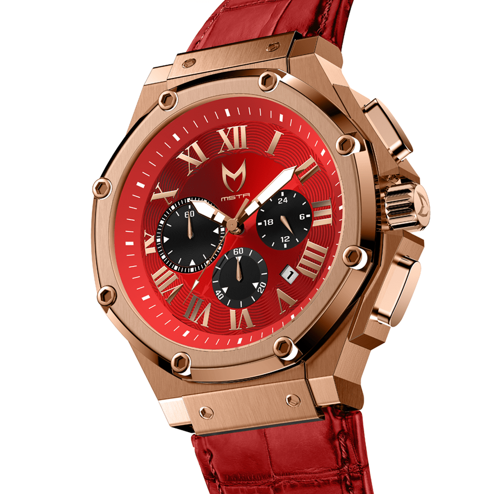 Rose Gold & Red – Leather