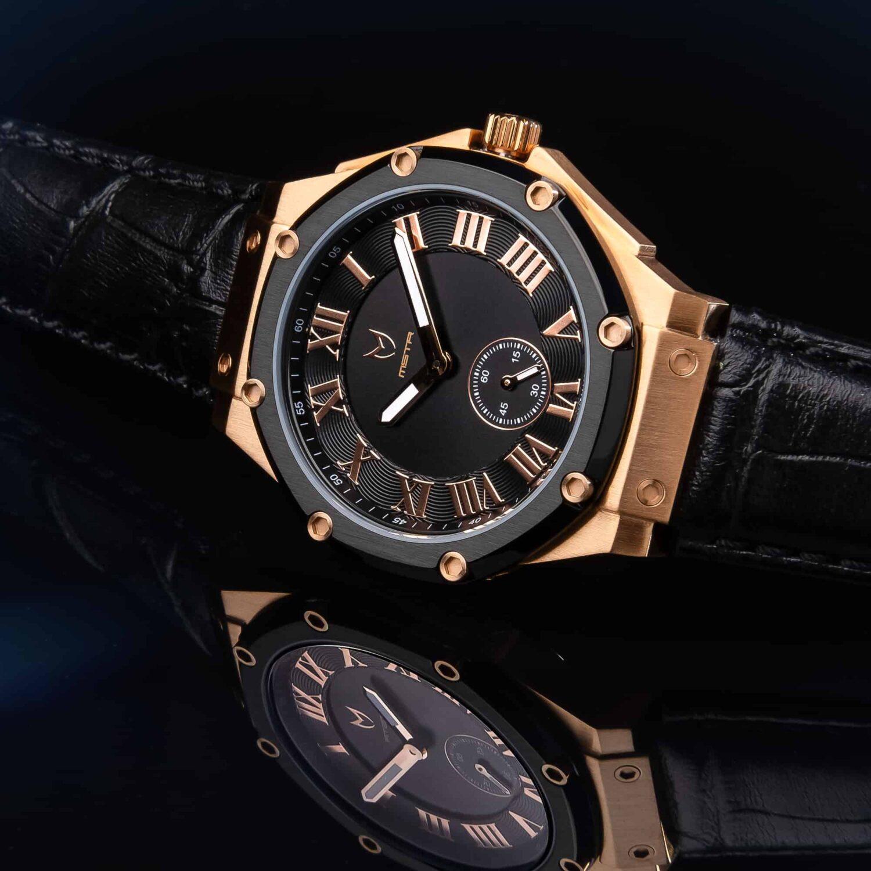Rose Gold & Black - Leather